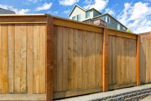 Wood Privacy Fence built in Huntsville, Texas surrounding a home.